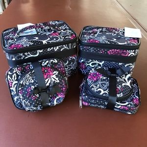 Red and black floral  print 6 pc cosmetic case set
